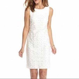 White Floral Lace Shift Dress Size 12